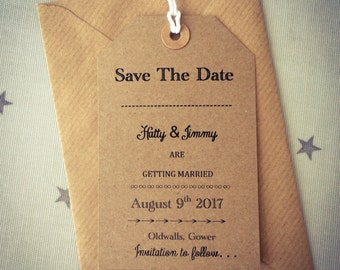 Save the Date wedding card /tag