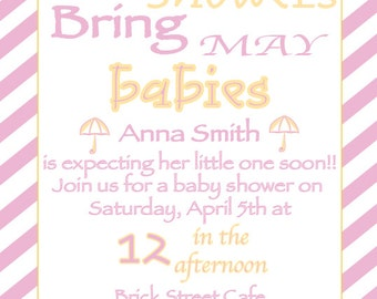 Printable PDF, April Showers Bring May Babies!, Pink, Blue, Umbrella, yellow, Expecting a little one