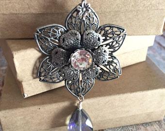 Vintage Rose Necklace, Flower Necklace, Crystal Necklace, Filigree Necklace, Gift for Her