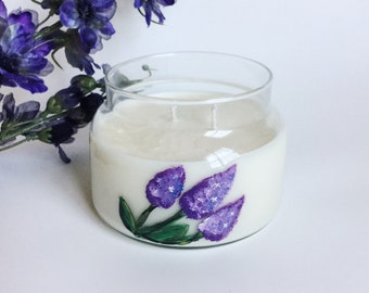 Lilac Candle/ 8oz, 2 wick/ handpainted/ natural soy wax/ refillable/ zero waste/ spring candle