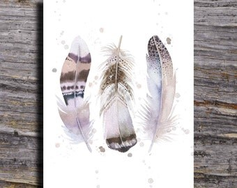 Watercolor Feather Nursery Art, Watercolor Feather Print, Boho Feather Print