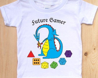 Dungeons and Dragons Inspired Toddler Shirt/ Dragon with Dice Toddler T-Shirt/ Nerdy Kids Clothes/ Role Playing Games Clothing for Kids