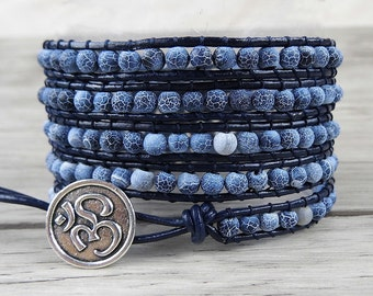 5 wrap bracelet Agate bead bracelet blue navy bead wrap bracelet boho bracelet yoga beaded bracelet leather bracelet Jewelry SL-0106
