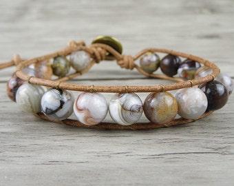 Agate beads Single Wrap Bracelet Boho bead bracelet Yoga wrap bracelet boho beaded bracelet Men  wrap bracelet beach Jewelry SL-0149