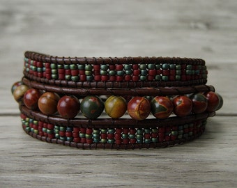 Leather Wrap Bracelet seed bead bracelet boho beaded bracelet womens gypsy wrap bracelet red picasso jasper gemstones bracelet SL-0242