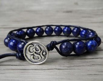 Gemstone beaded wrap bracelet lapis lazuli bracelet leather wrap bracelet OM charm bracelet Namaste bracelet natural stones bracelet SL-0199