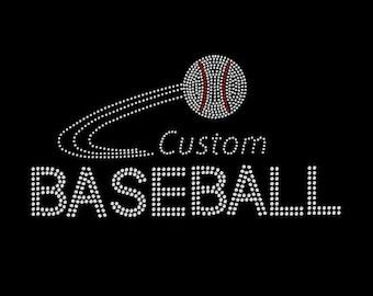 Custom Rhinestone Baseball Transfer, custom applique, custom bling, custom logo iron bling rhinestone transfer, custom decal, iron on