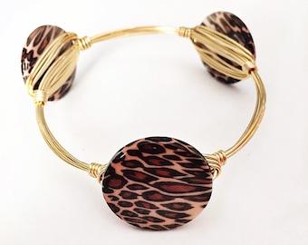 Leopard Cheetah Animal print wire wrapped bangle bracelet jewelry