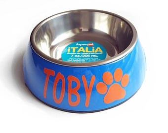 Small 7 oz dog bowl pet cat puppy food water blue personalized