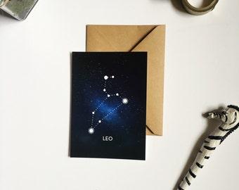 constellation postcard: Leo star sign zodiac card