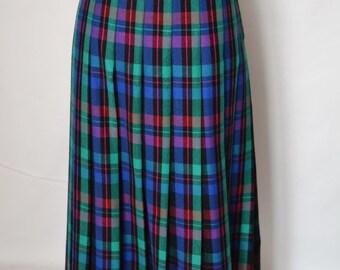 Vintage Check Skirt Maxi Skirt Pleated Skirt Blue Green Pink Check Skirt by Bianca