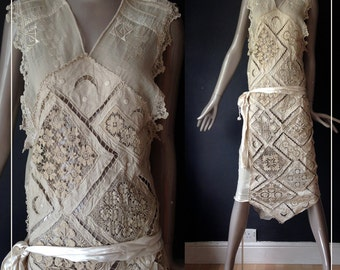french antique flapper dress---s