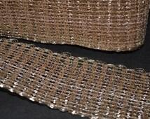 Hand Woven Dull Gold Gota Ribbon, Crochet Weaving Wide Gota for Sari Border and Lehenga Dresses - Gota Ribbon for Wedding Lehenga Dresses