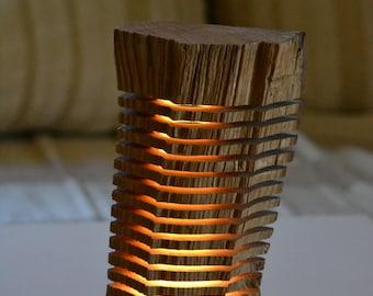 Led light wood sculpture