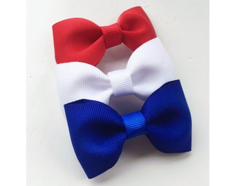 Set of Three 3 inch Bows - red, white, and blue