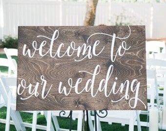 FREE SHIPPING 36X24 Welcome to Our Wedding Wood Sign, Wood sign, Wedding Wood Sign, Wooden Sign, Wedding, hand painted sign Wedding Decor