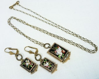 Antique Bird Micro Mosaic Necklace & Earring Set, Made in Italy, Grand Tour