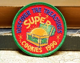 Vintage Girl Scout Cookie Patch Embroidered Super Cookies 1990 Treasures Patch Scout Insignia Badge Uniforms Jackets Back