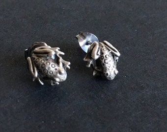 Tiny spotted frog earrings. Sterling with 10k posts.