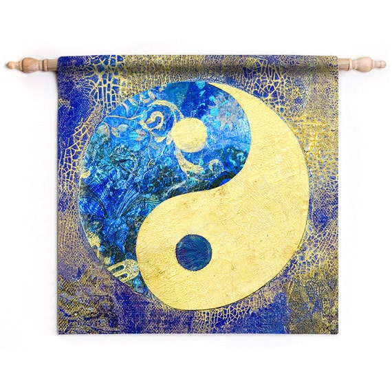 Yin and yang tapestry yin and yang wall hanging blue boho for Decoration murale yin yang