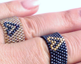 Ring - Beadwoven Ring - Boho Jewelry - Seed Bead - Beadwork - Beaded Ring