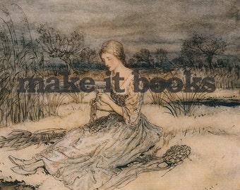 Arthur Rackham - She sat down - Caporushes - Brothers Grimm Fairy Tales