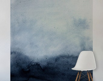Blue Watercolour Wall Mural, Self Adhesive Fabric or Paste&Glue Wallpaper, Watercolour Home Decor
