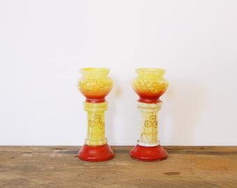Pair of Yellow and White Swirled Glass Vases