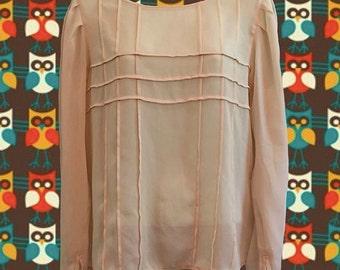 Vintage 1970's Albert Nipon Silk Blouse • Sheer Ivory • Fabulous Seam Detailing • Amazing Condition