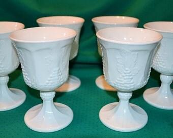 Vintage White Milk Glass Goblets, Colony Harvest Goblets