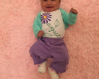Custom Onesie with Name and Birth Month Flower