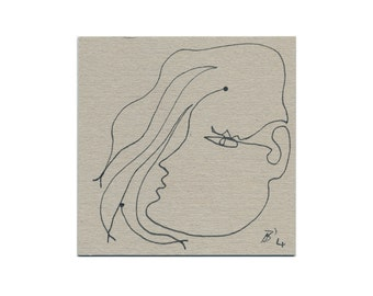 "Portrait simple 10/10 cm of ""pretty woman"" image - contour drawing / line drawing, original drawing, drawings / ink drawing"