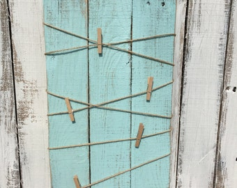 Reclaimed Pallet Wood Blue Twine and Clothespins Organizer