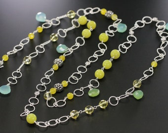 Lariat Necklace-jade, Citrine, Aqua Chalcedony, silver bead, and silver chain wire wrapped