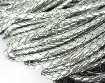 1 m braided art leather strap 4 mm - silver