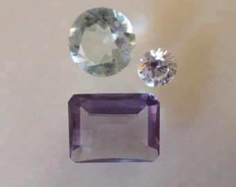 Lot of Three Different Faceted Glass Stones for Jewelry Designers.