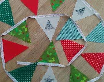 Single sided 2 metre handmade Christmas bunting