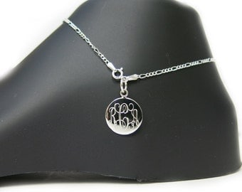 Monogrammed 925 Sterling Silver 2mm Figaro Chain Personalized Anklet