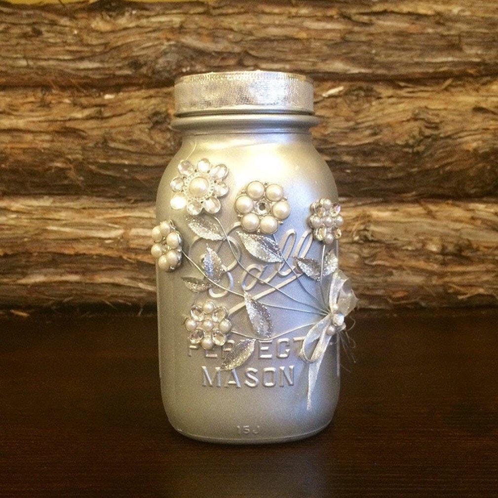 Silver Wedding Gifts Ideas: Silver Mason Jar Wedding Mason Jar Silver Wedding Decor