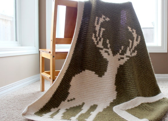 Deer Silhouette Baby Blanket Crochet Pattern and Chart