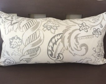Tan Gray Ivory Linen Print Decorative Pillow Cover Throw Pillow Rectangle