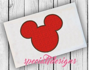 Mickey Head Applique Design - Digital Embroidery File - Machine Embroidery - Instant Download - Mouse - World - Vacation