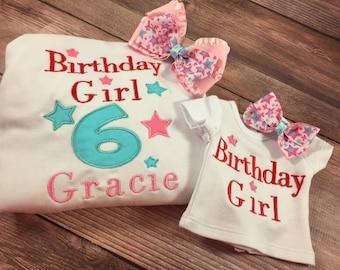 Matching Girl Doll Shirts;Dollie And Me;Girl Doll Shirts;Girls Birthday Shirt;18 Inch Doll Clothes;Custom Doll;AG Birthday Shirt