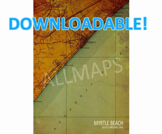 Man Cave Store Myrtle Beach Sc : Myrtle beach south carolina printable vintage old map