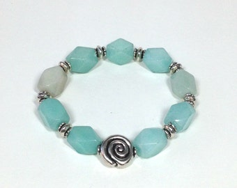 Amazonite and Sterling Silver Bracelet, Semi-precious Stones and Sterling Silver