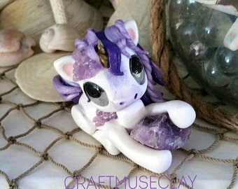 Amethyst the Unicorn polymer clay figure//gemstone//gifts for her//fantasy animal//crystal//ponies//sculpture