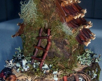 Fairy House Pinecone Roof Twigs Moss Lichen Ladders Woodland