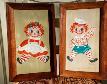 Vintage Raggedy Ann And Andy Signed Paintings Wall Hangings