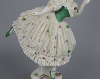 Antique Dresden Volkstedt figurine Dancing Lady 2