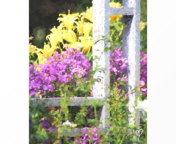 """Flower Picture of a Garden with Purple Flowers and Yellow Lilies, Purple Decor, Gift for Mom, Purple Home Decor, Purple """"Tea in the Garden"""""""